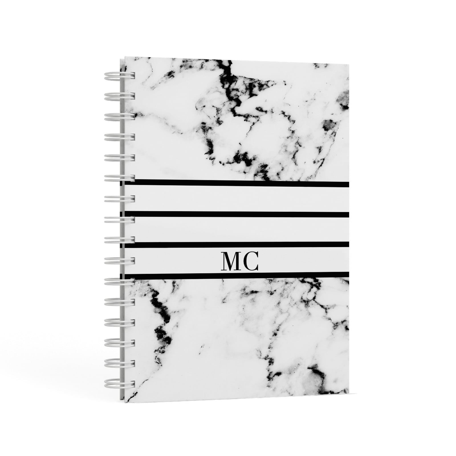 Marble Stripes Initials Personalised A5 Hardcover Notebook Second Side View