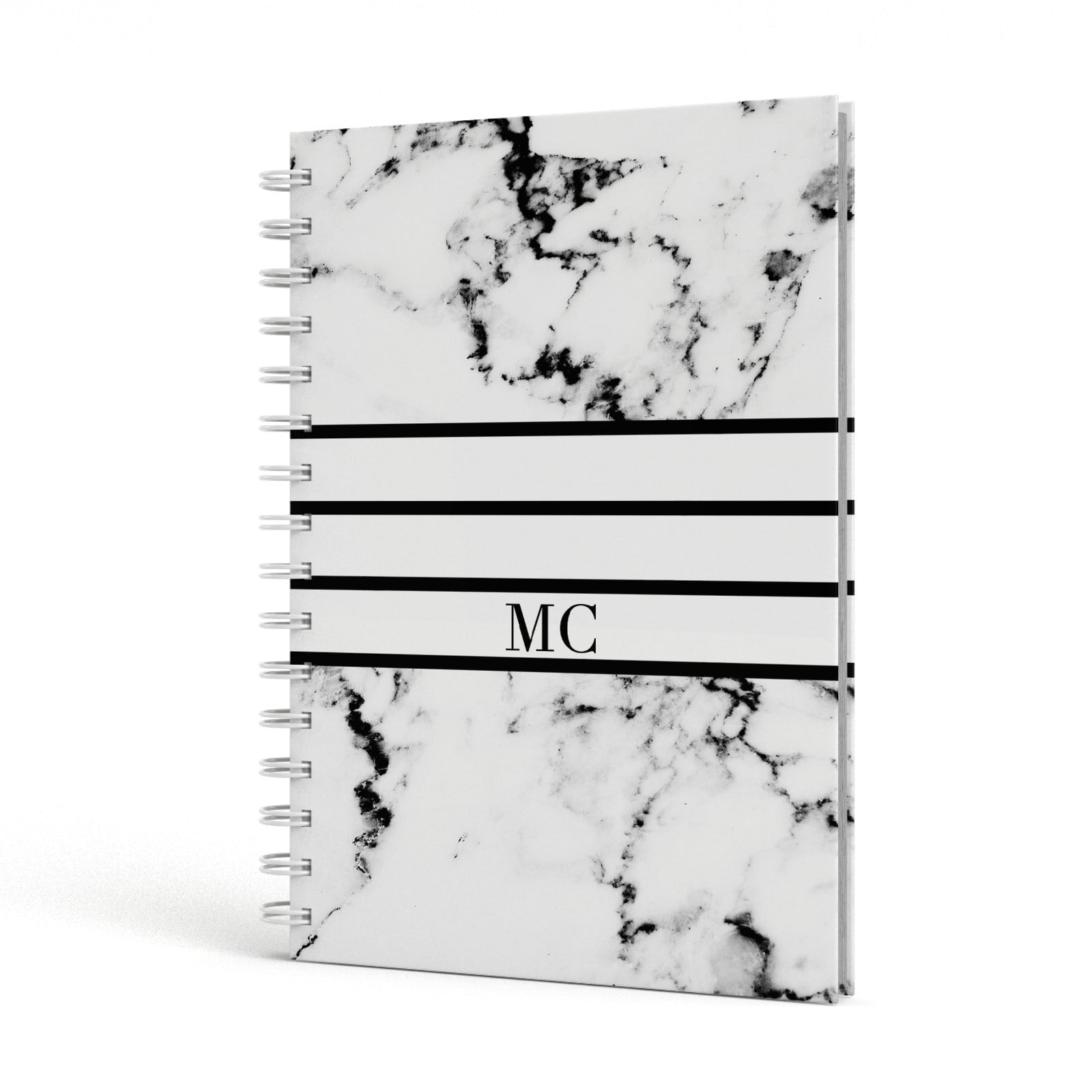 Marble Stripes Initials Personalised A5 Hardcover Notebook Side View