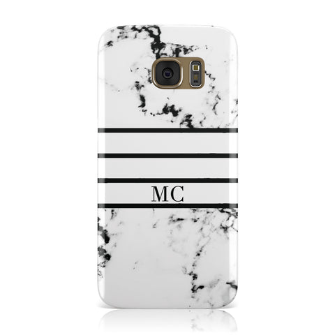 Marble Stripes Initials Personalised Samsung Galaxy Case