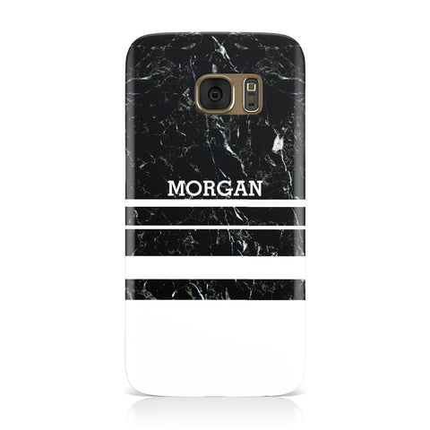 Personalised Marble Stripes Name Initials Samsung Galaxy Case
