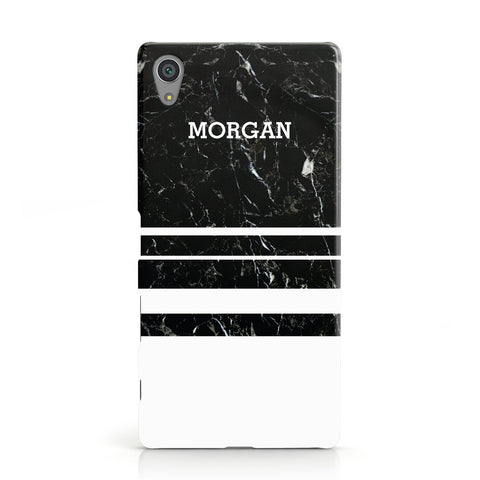 Personalised Marble Stripes Name Initials Sony Xperia Case