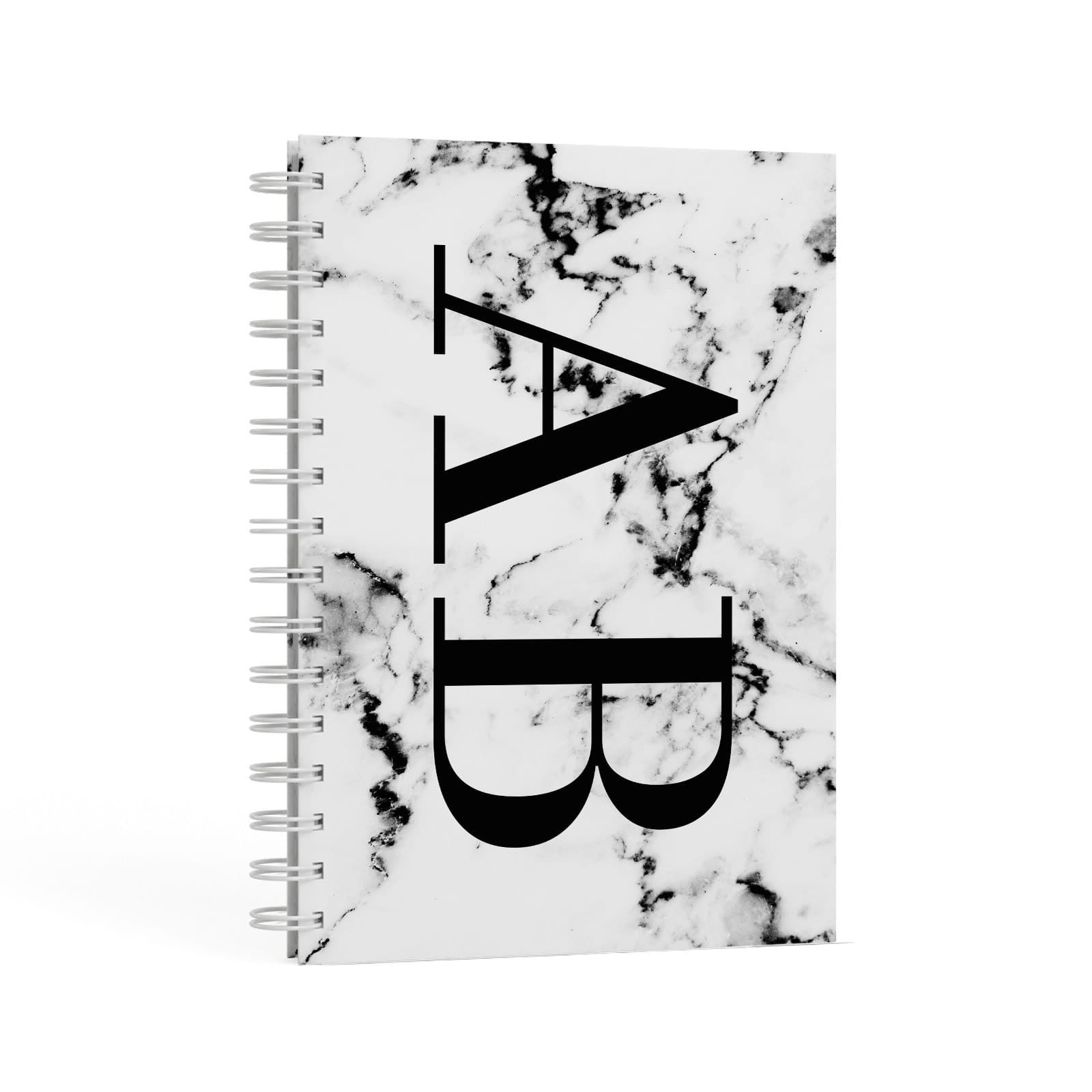 Marble Vertical Initials Personalised A5 Hardcover Notebook Second Side View