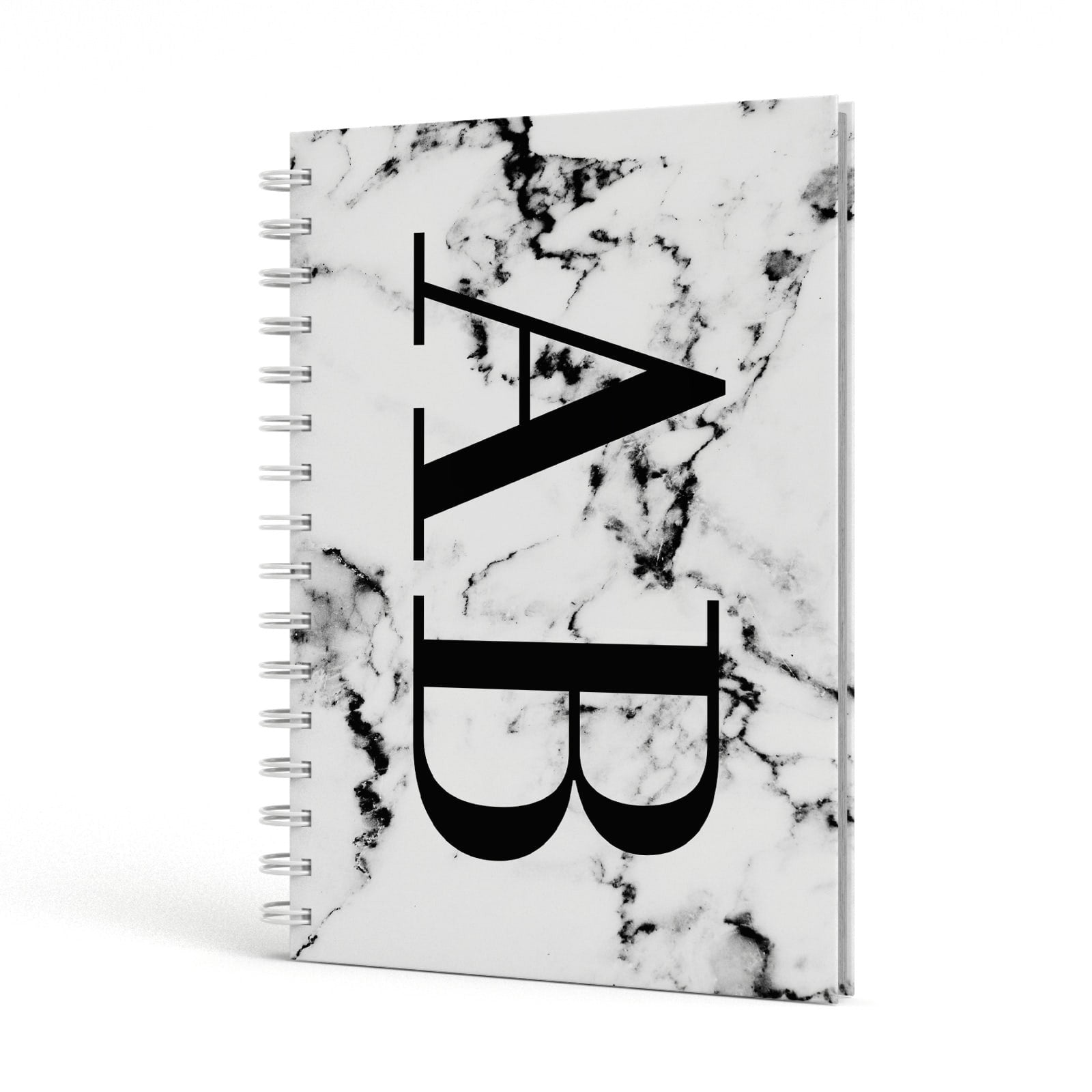 Marble Vertical Initials Personalised A5 Hardcover Notebook Side View