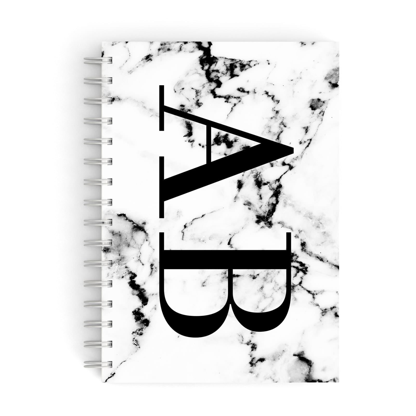 Marble Vertical Initials Personalised A5 Hardcover Notebook
