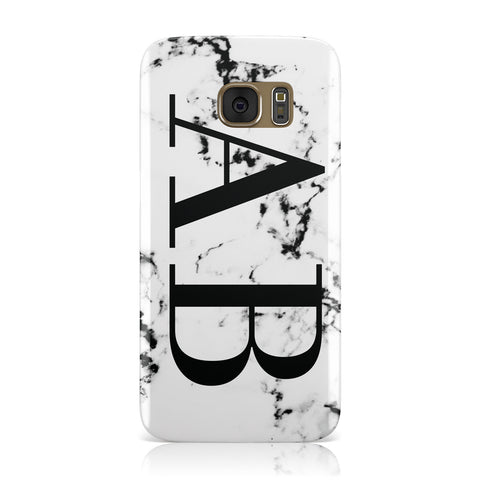 Marble Vertical Initials Personalised Samsung Galaxy Case
