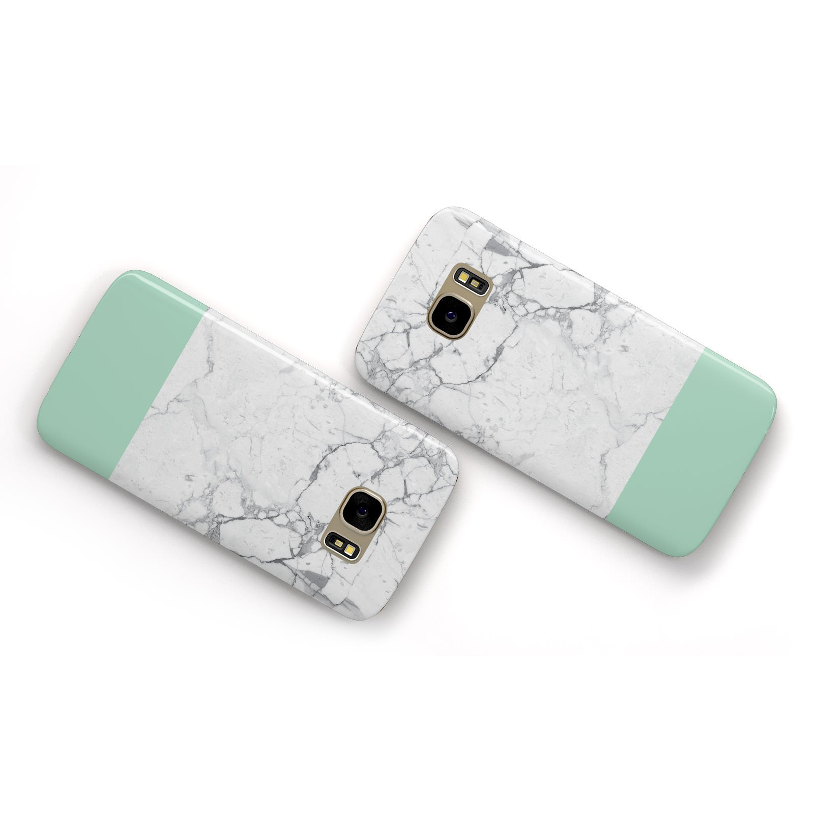 Marble White Carrara Green Samsung Galaxy Case Flat Overview