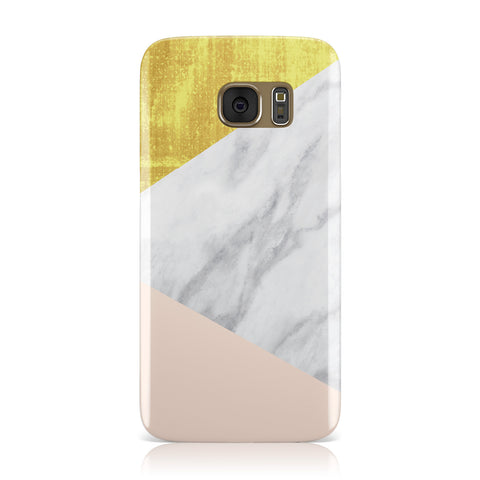Marble White Gold Foil Peach Samsung Galaxy Case