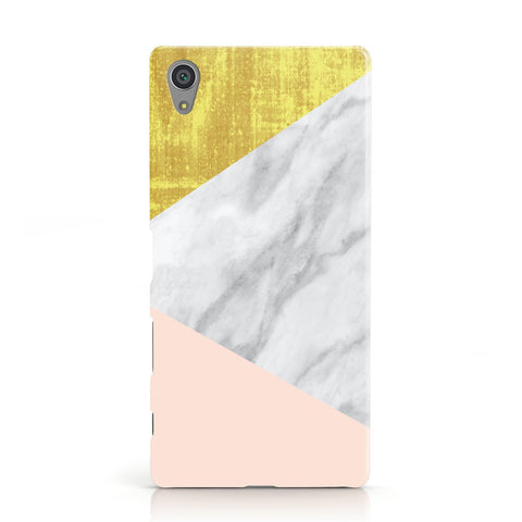 Marble White Gold Foil Peach Sony Xperia Case