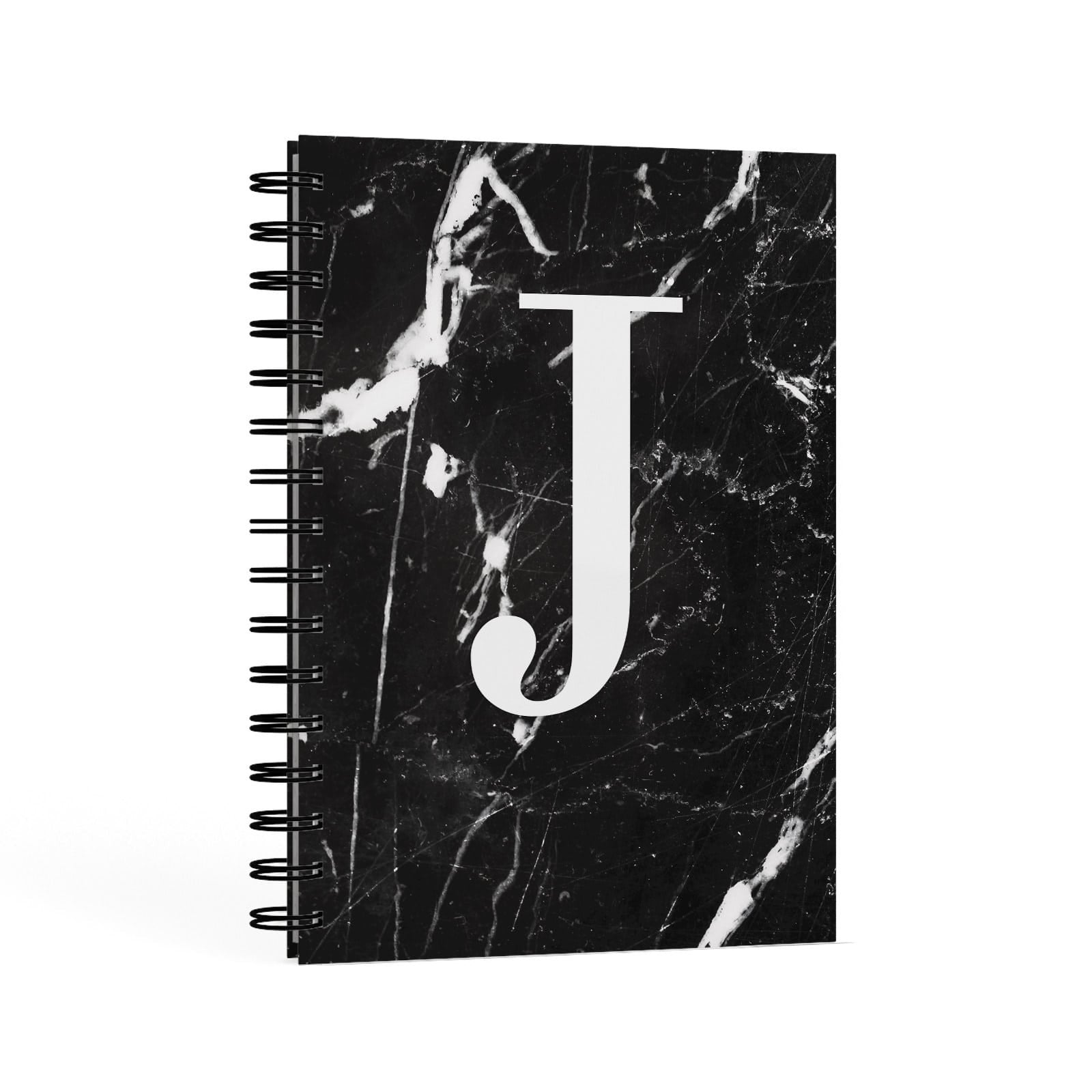 Marble White Initial Personalised A5 Hardcover Notebook Second Side View