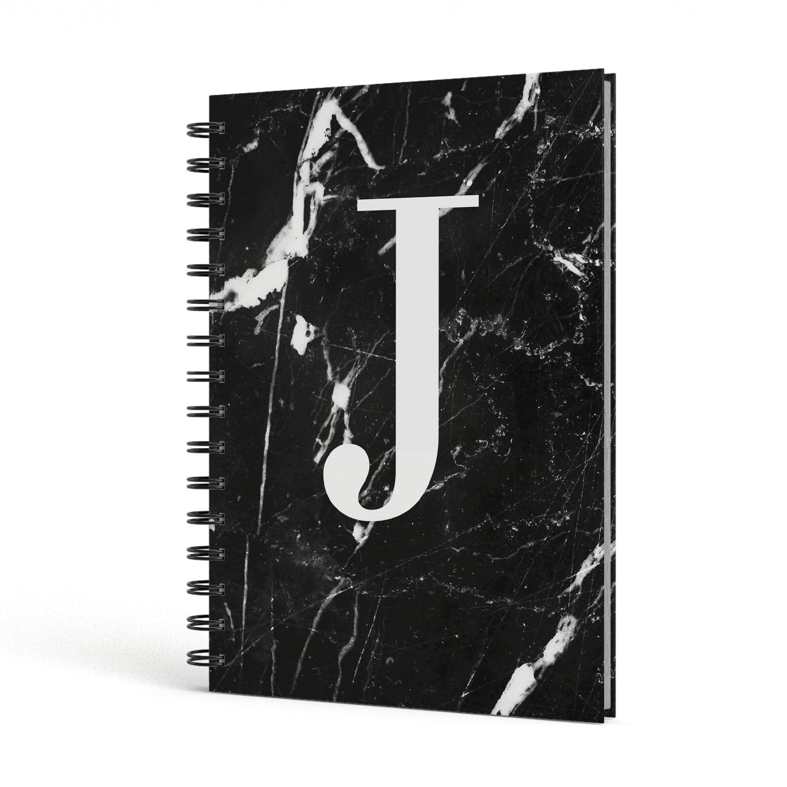 Marble White Initial Personalised A5 Hardcover Notebook Side View