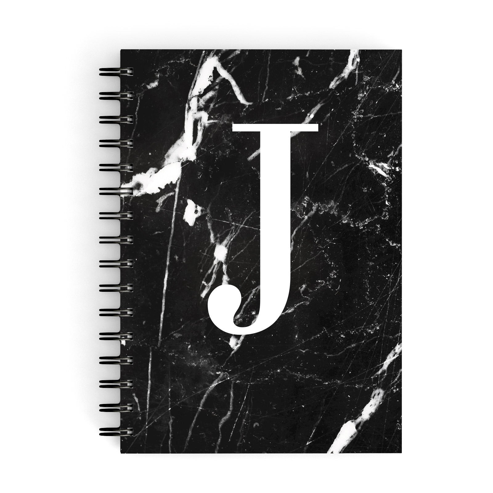 Marble White Initial Personalised A5 Hardcover Notebook