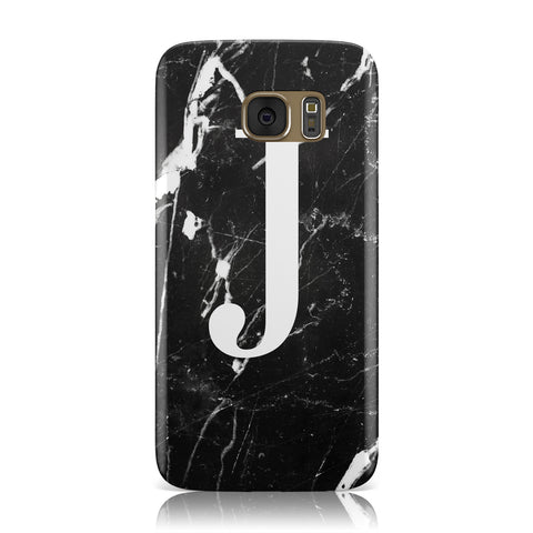 Marble White Initial Personalised Samsung Galaxy Case