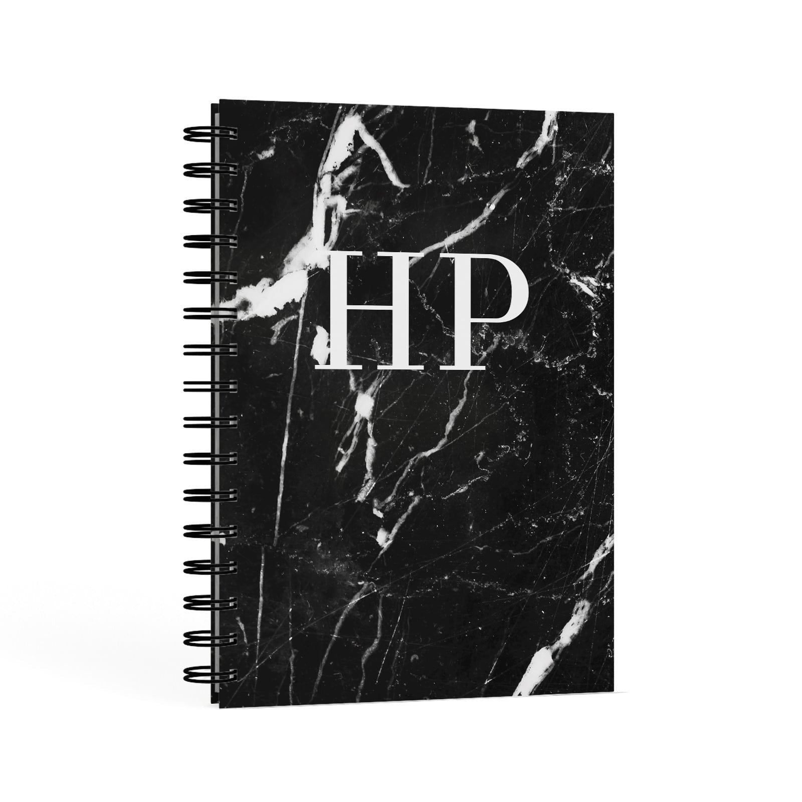 Marble White Initials Monogram Personalised A5 Hardcover Notebook Second Side View