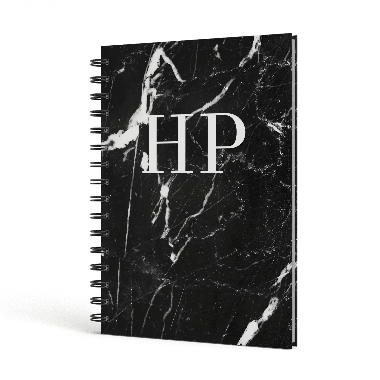 Marble White Initials Monogram Personalised A5 Hardcover Notebook Side View