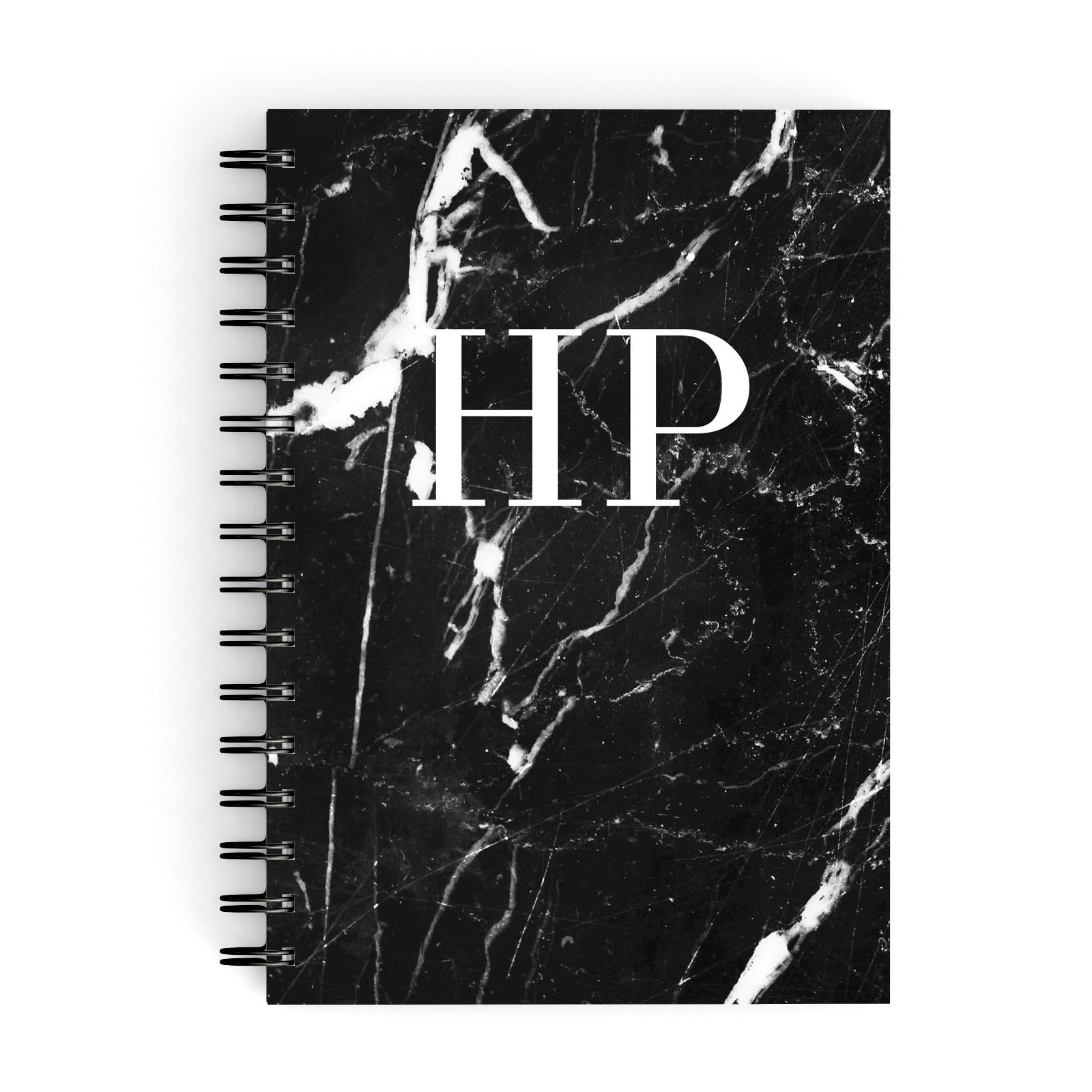 Marble White Initials Monogram Personalised A5 Hardcover Notebook