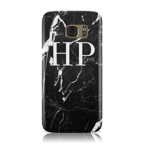 Marble White Initials Monogram Personalised Samsung Galaxy Case