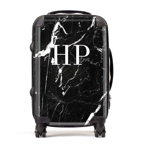 Marble White Initials Monogram Personalised Suitcase