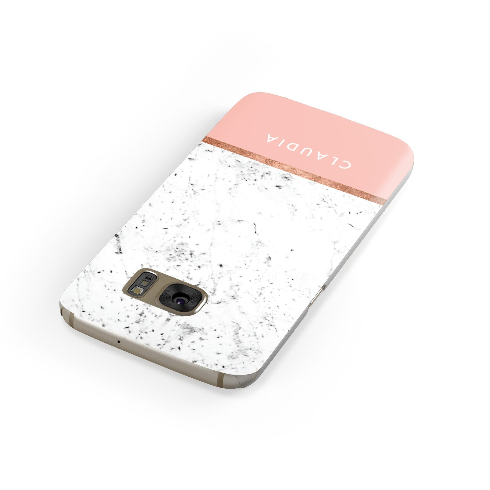 Personalised Marble With Name Initials Pink Samsung Galaxy Case Front Close Up