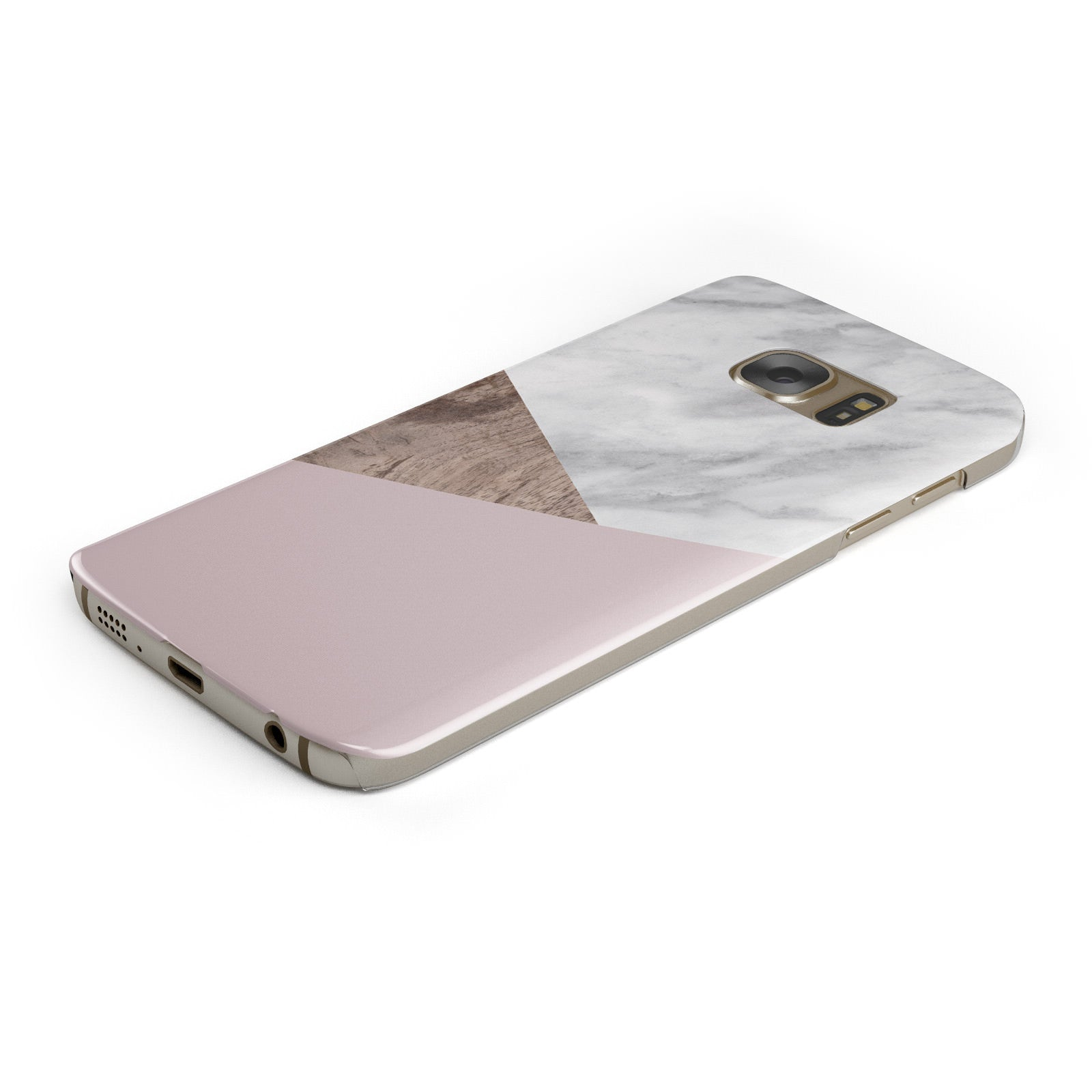 Marble Wood Geometric 3 Samsung Galaxy Case Bottom Cutout