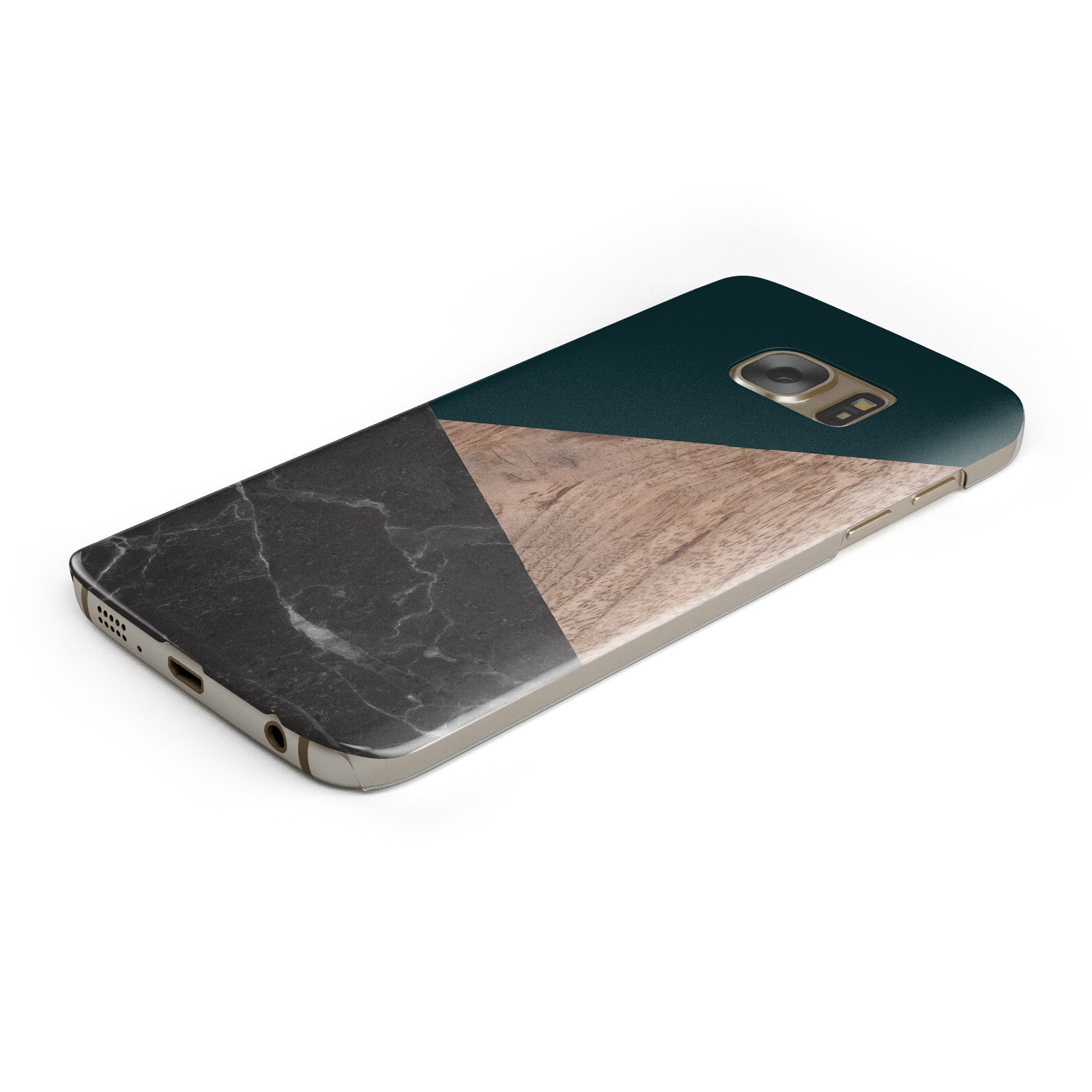 Marble Wood Geometric 6 Samsung Galaxy Case Bottom Cutout