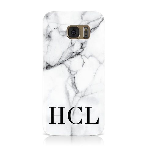 Personalised Medium Marble Initials Samsung Galaxy Case
