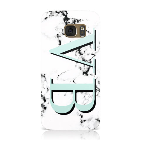 Personalised Mint Big Initials Marble Samsung Galaxy Case