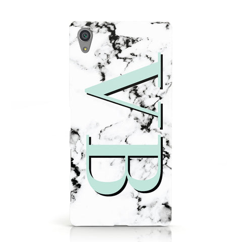 Personalised Mint Big Initials Marble Sony Xperia Case