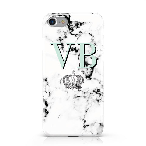 Personalised Mint Crown Initials Marble Apple iPhone Case