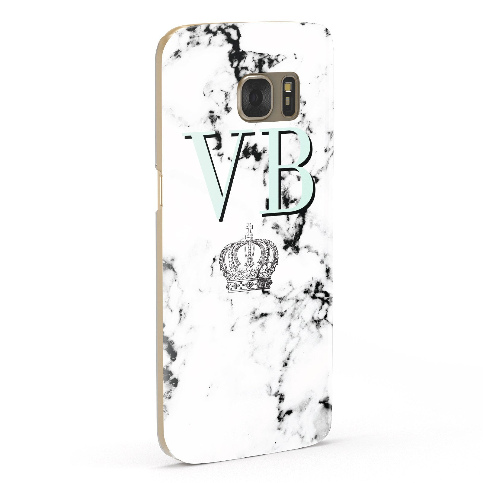 Personalised Mint Crown Initials Marble Samsung Galaxy Case Fourty Five Degrees