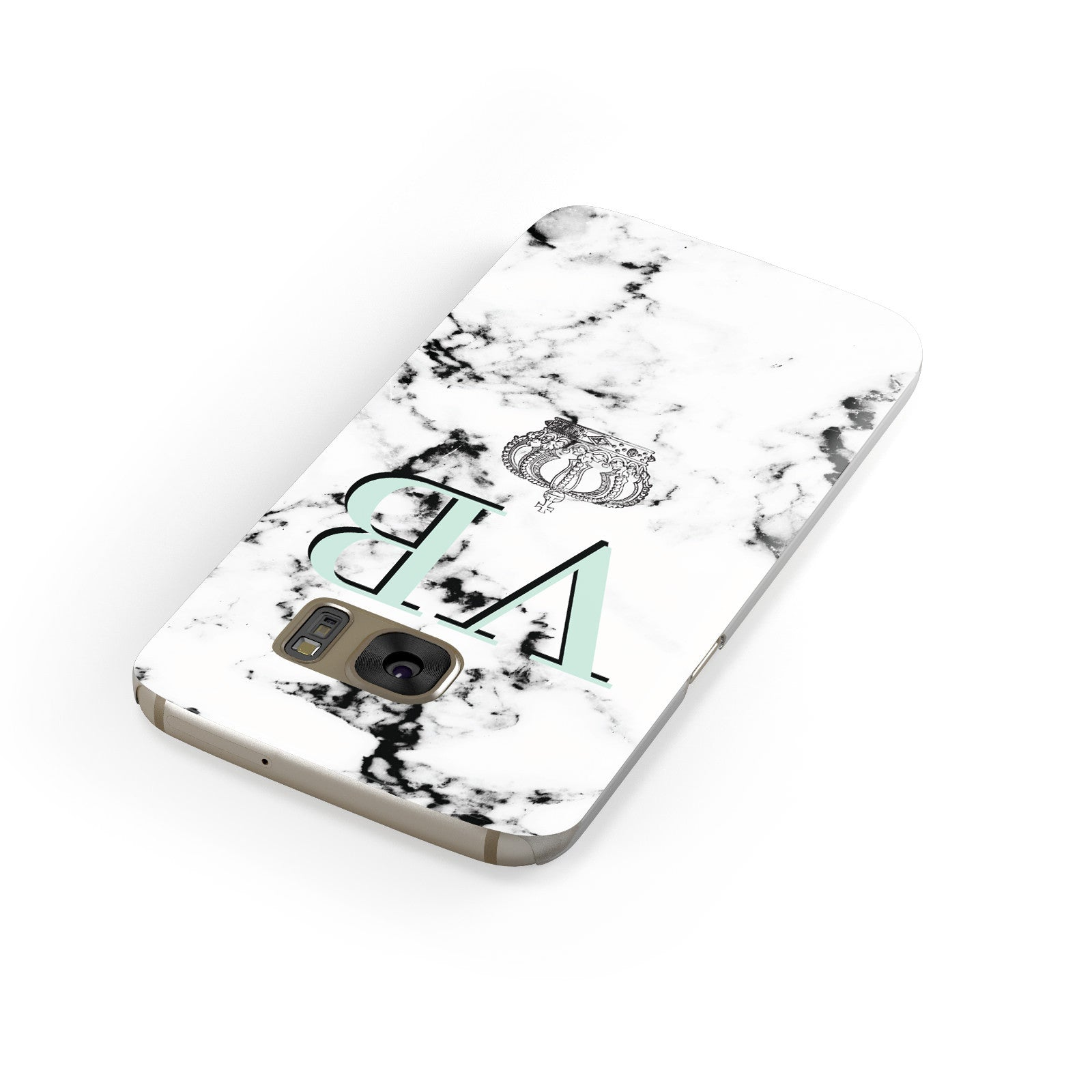 Personalised Mint Crown Initials Marble Samsung Galaxy Case Front Close Up