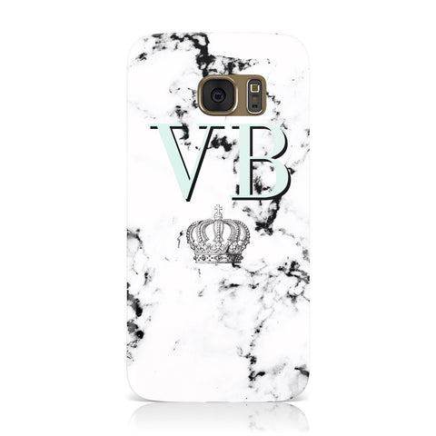 Personalised Mint Crown Initials Marble Samsung Galaxy Case