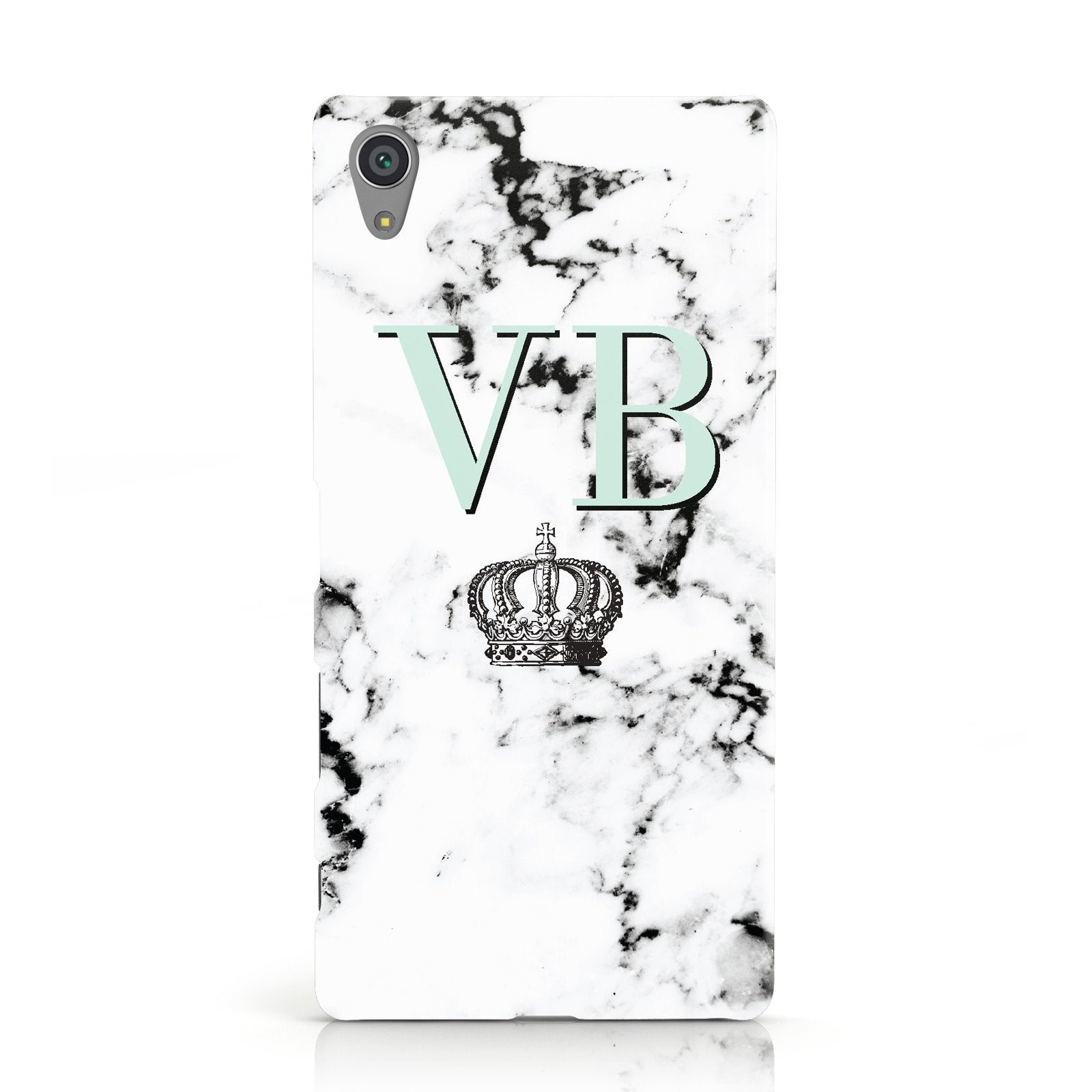 Personalised Mint Crown Initials Marble Sony Xperia Case