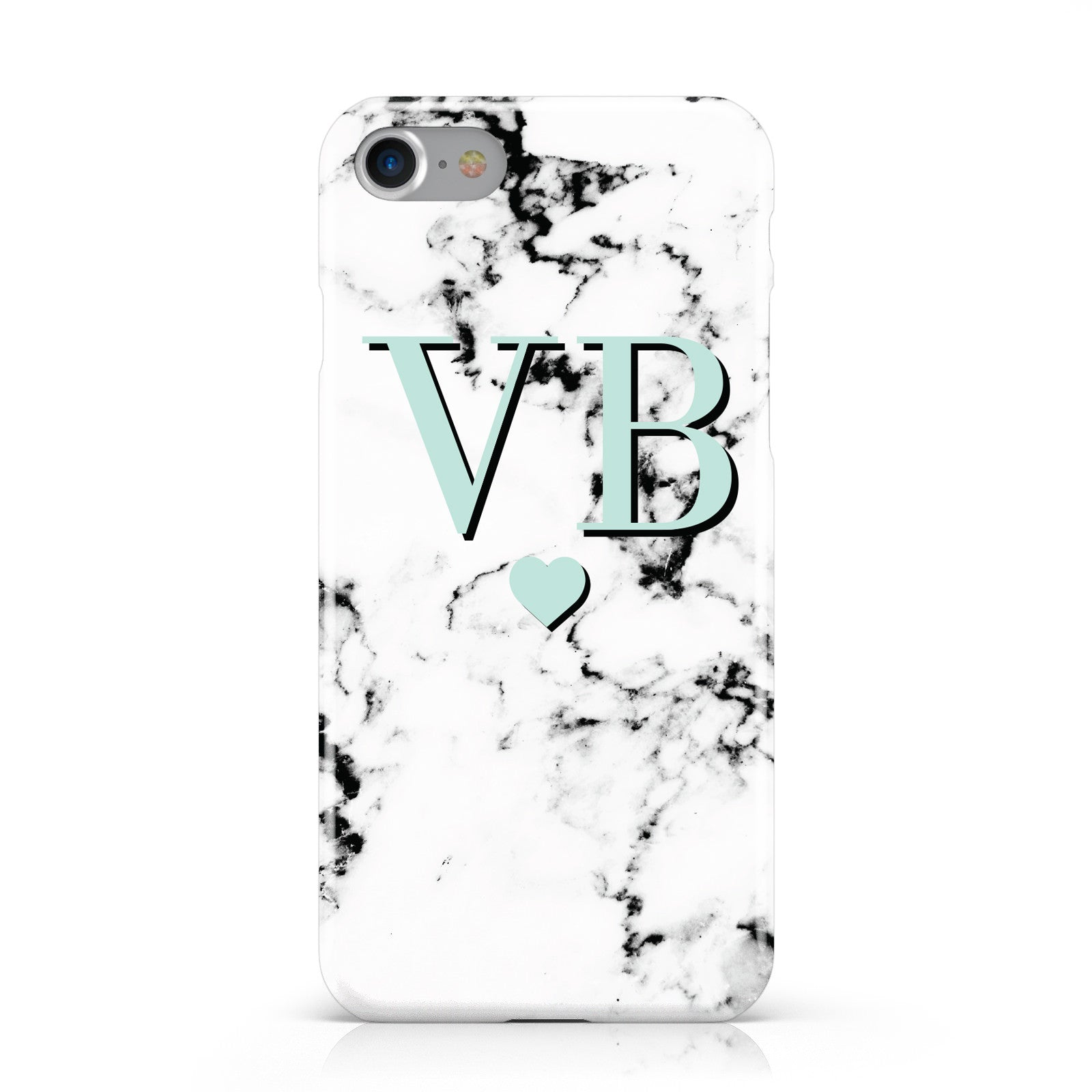 Personalised Mint Initialled Marble Heart Apple iPhone Case