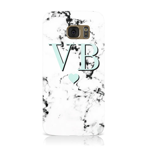 Personalised Mint Initialled Marble Heart Samsung Galaxy Case