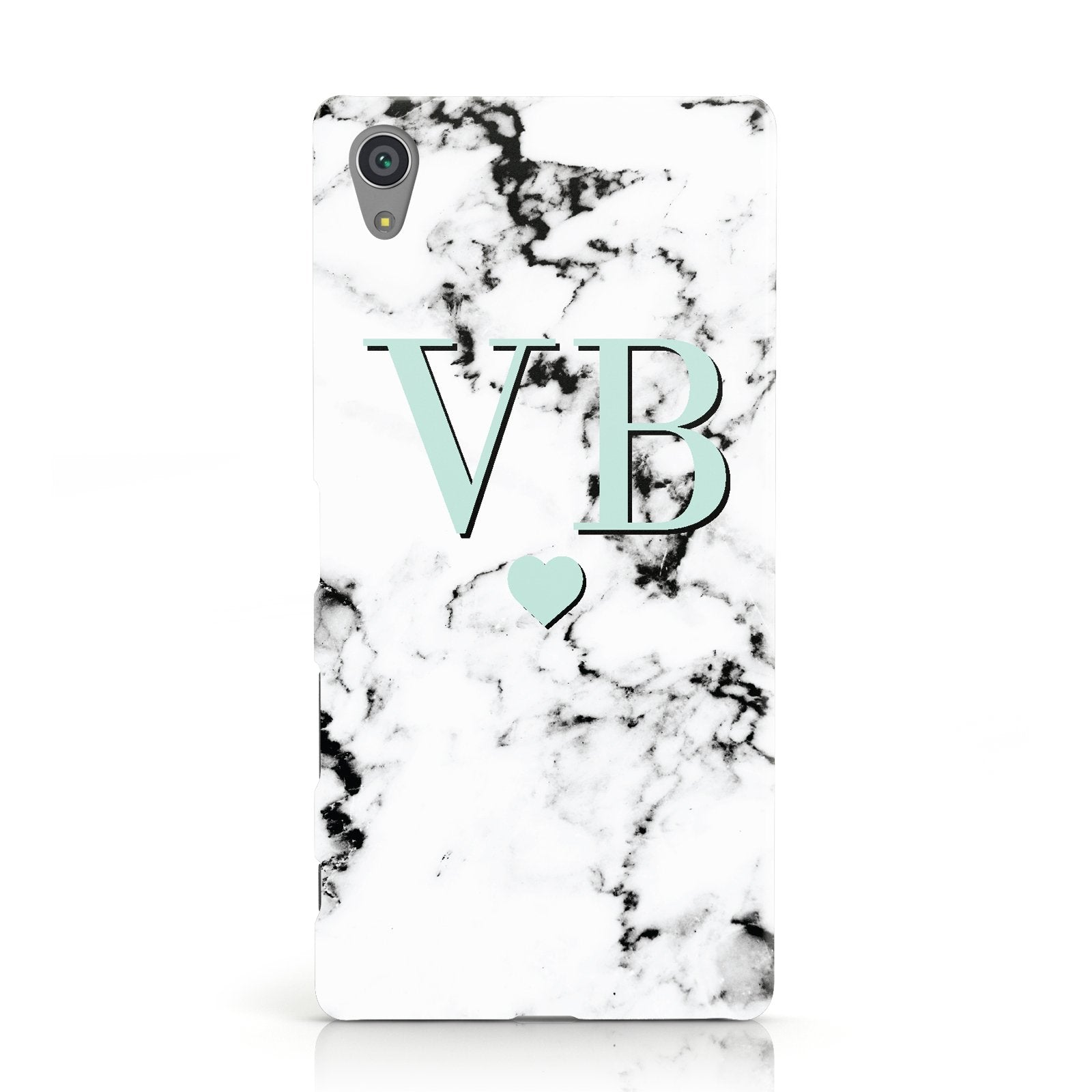 Personalised Mint Initialled Marble Heart Sony Xperia Case