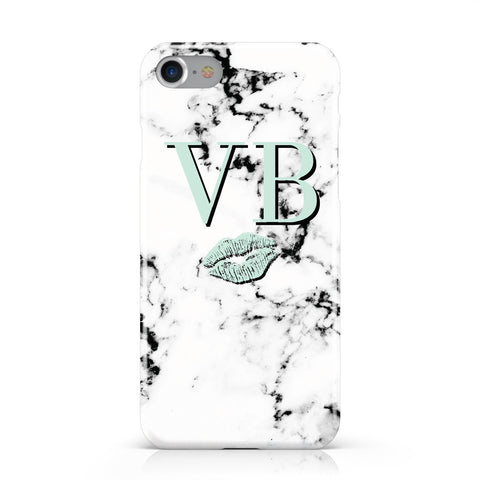 Personalised Mint Lips Initials Marble Apple iPhone Case