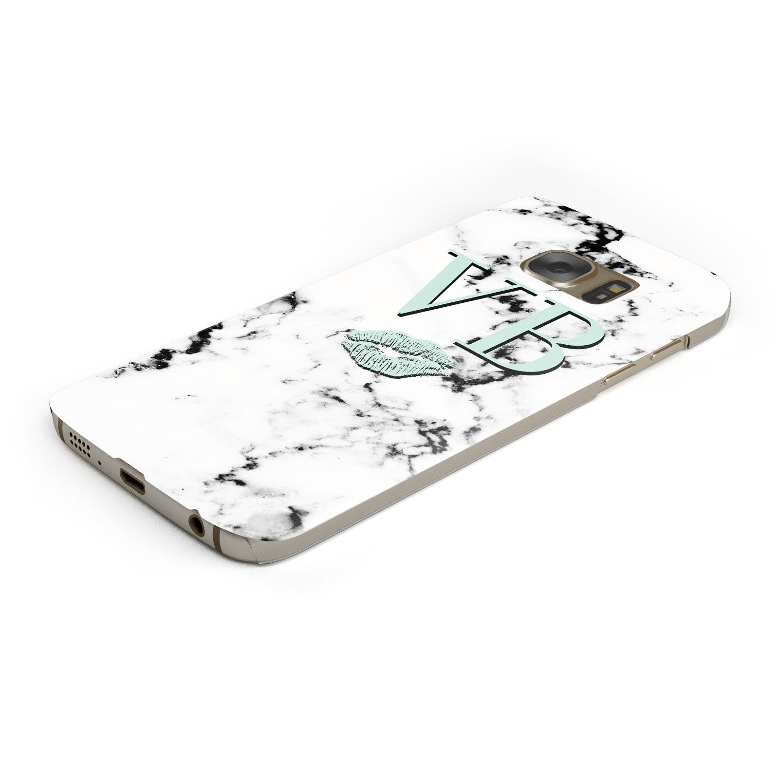 Personalised Mint Lips Initials Marble Samsung Galaxy Case Bottom Cutout