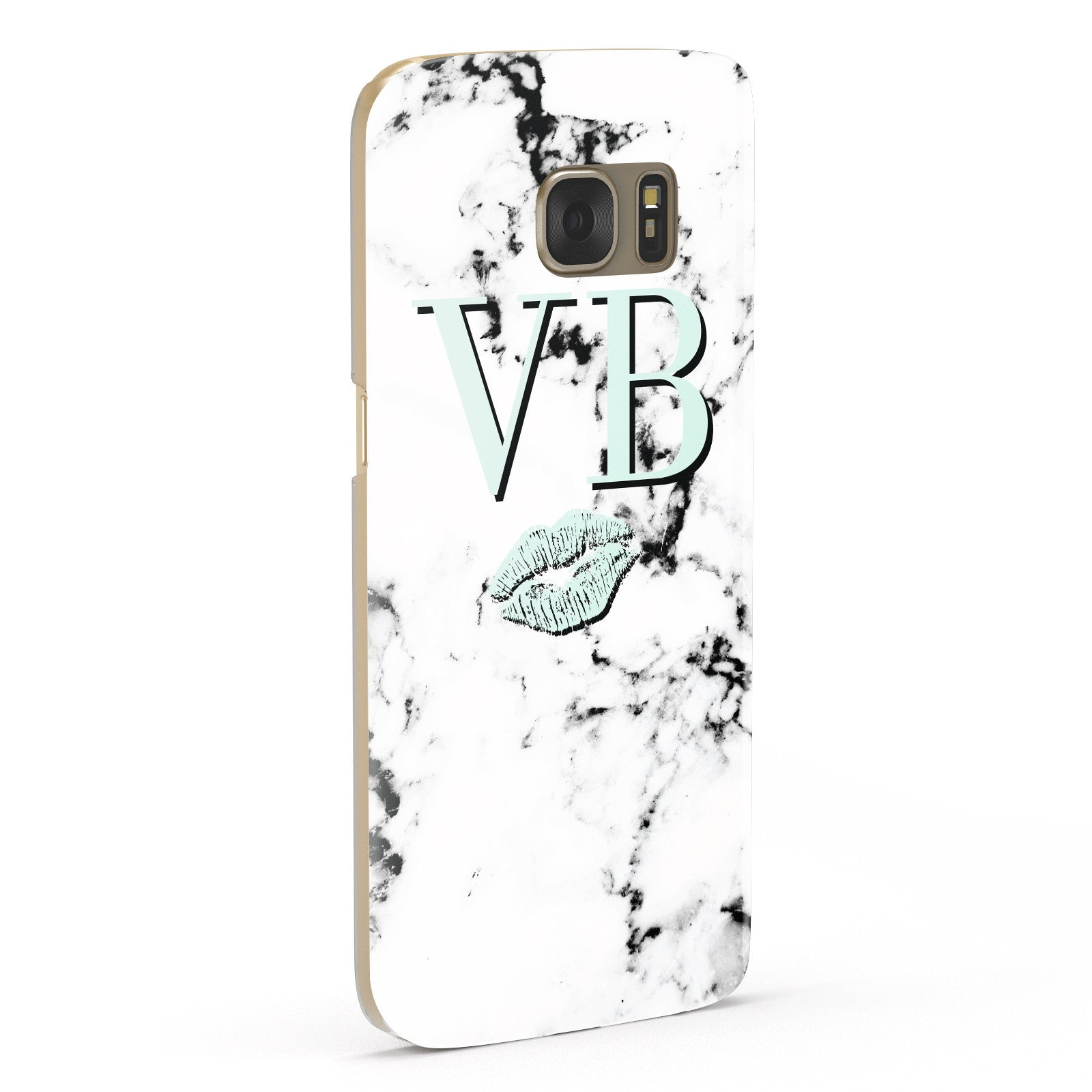 Personalised Mint Lips Initials Marble Samsung Galaxy Case Fourty Five Degrees