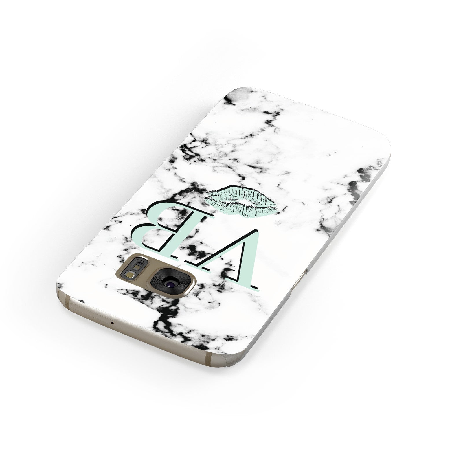 Personalised Mint Lips Initials Marble Samsung Galaxy Case Front Close Up