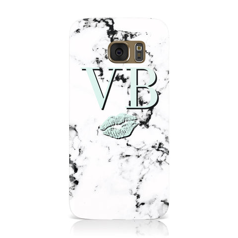 Personalised Mint Lips Initials Marble Samsung Galaxy Case