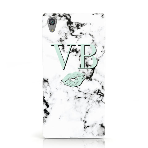 Personalised Mint Lips Initials Marble Sony Xperia Case