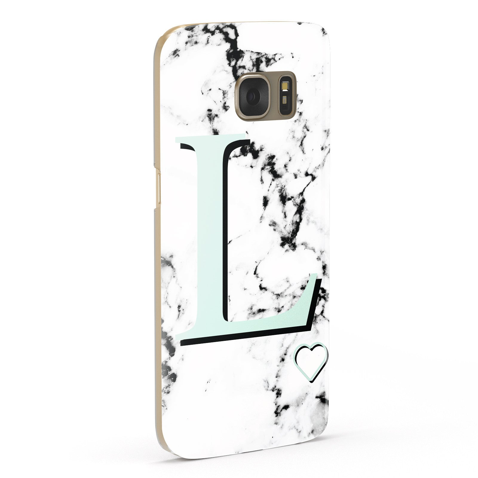 Personalised Mint Monogram Marble Heart Samsung Galaxy Case Fourty Five Degrees