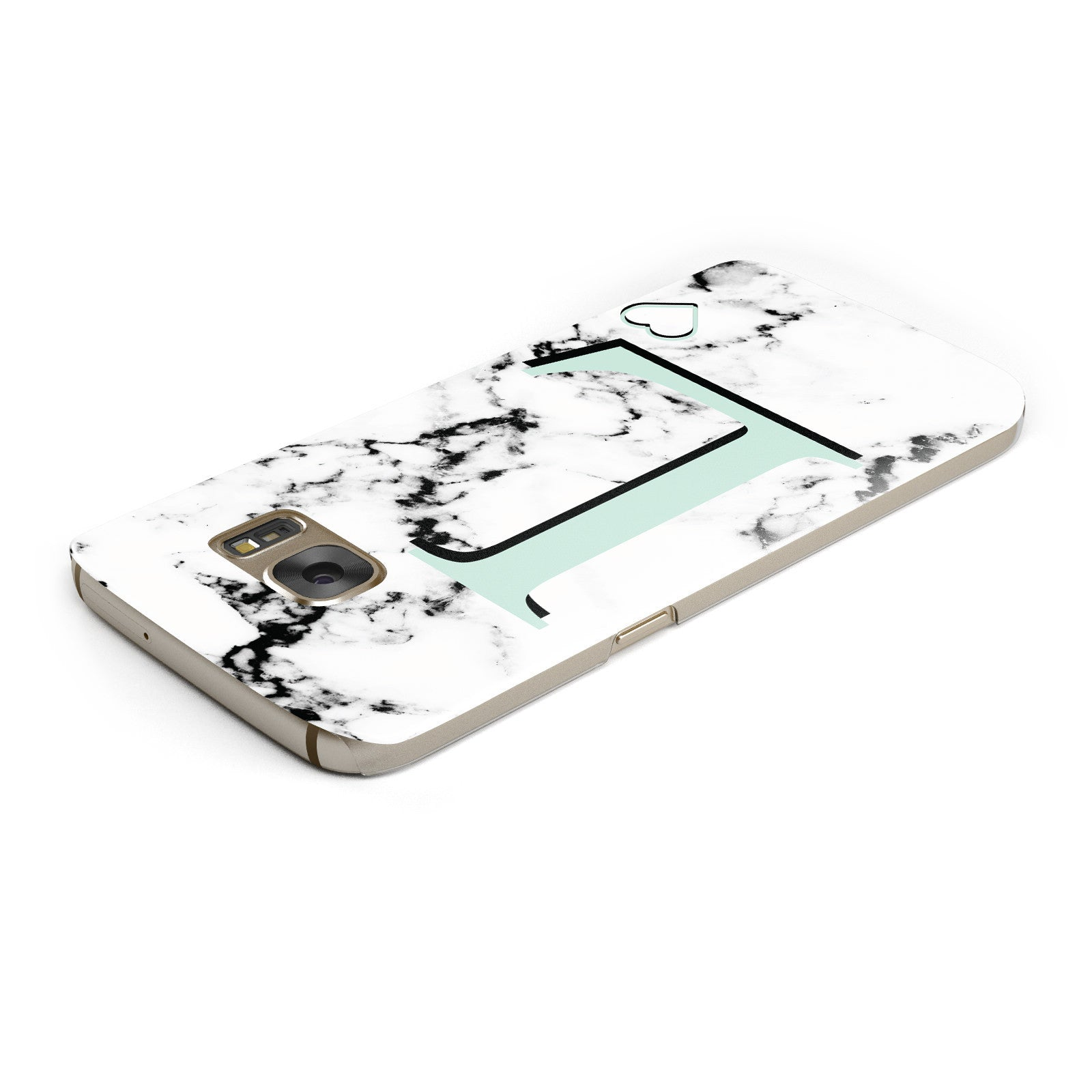 Personalised Mint Monogram Marble Heart Samsung Galaxy Case Top Cutout