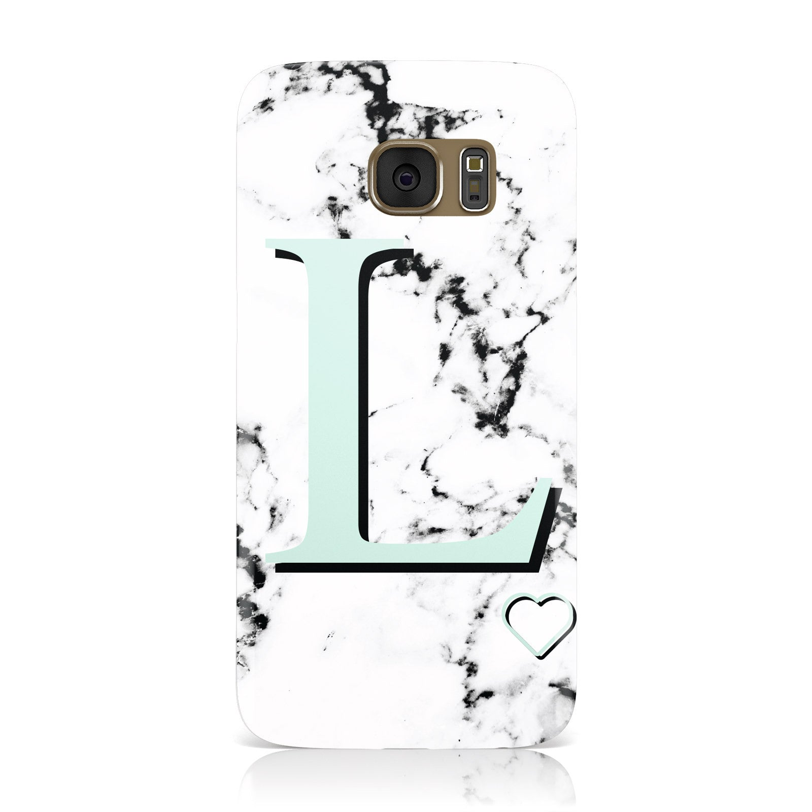 Personalised Mint Monogram Marble Heart Samsung Galaxy Case