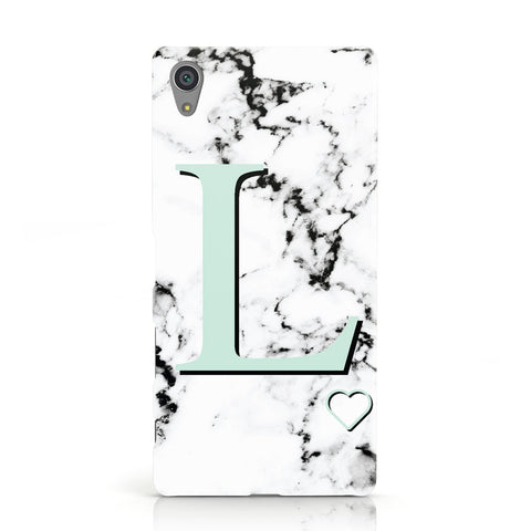 Personalised Mint Monogram Marble Heart Sony Xperia Case