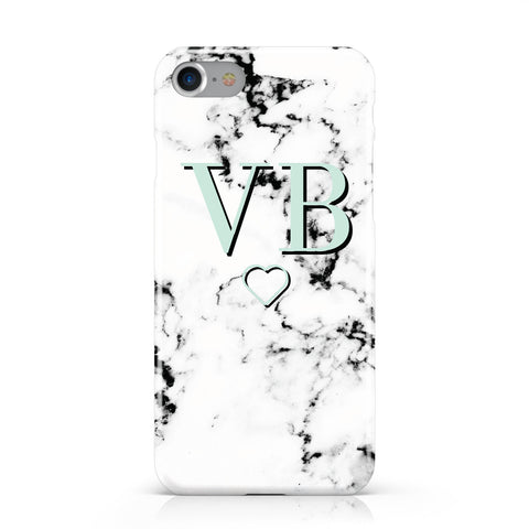 Personalised Mint Monogrammed Heart Marble Apple iPhone Case