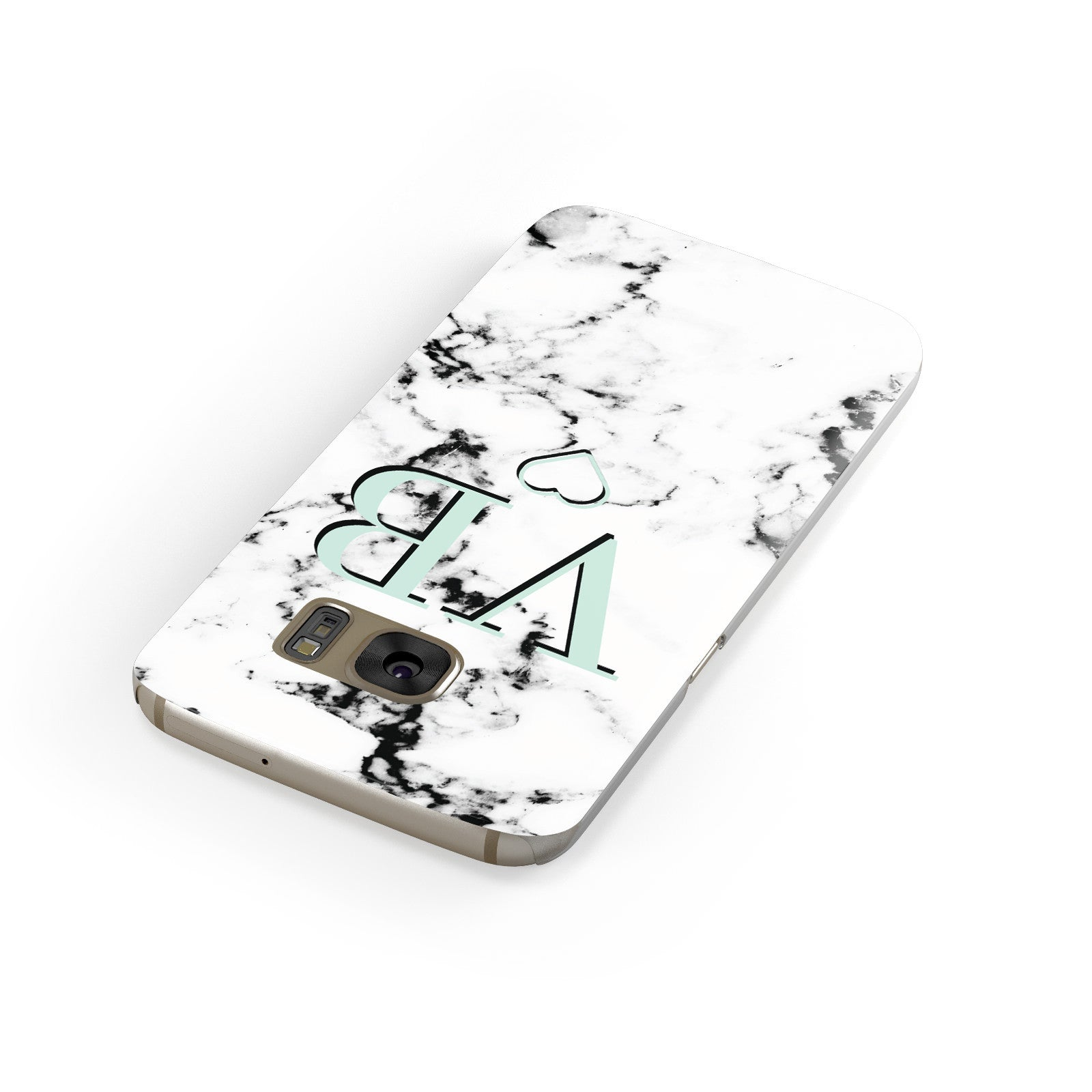 Personalised Mint Monogrammed Heart Marble Samsung Galaxy Case Front Close Up