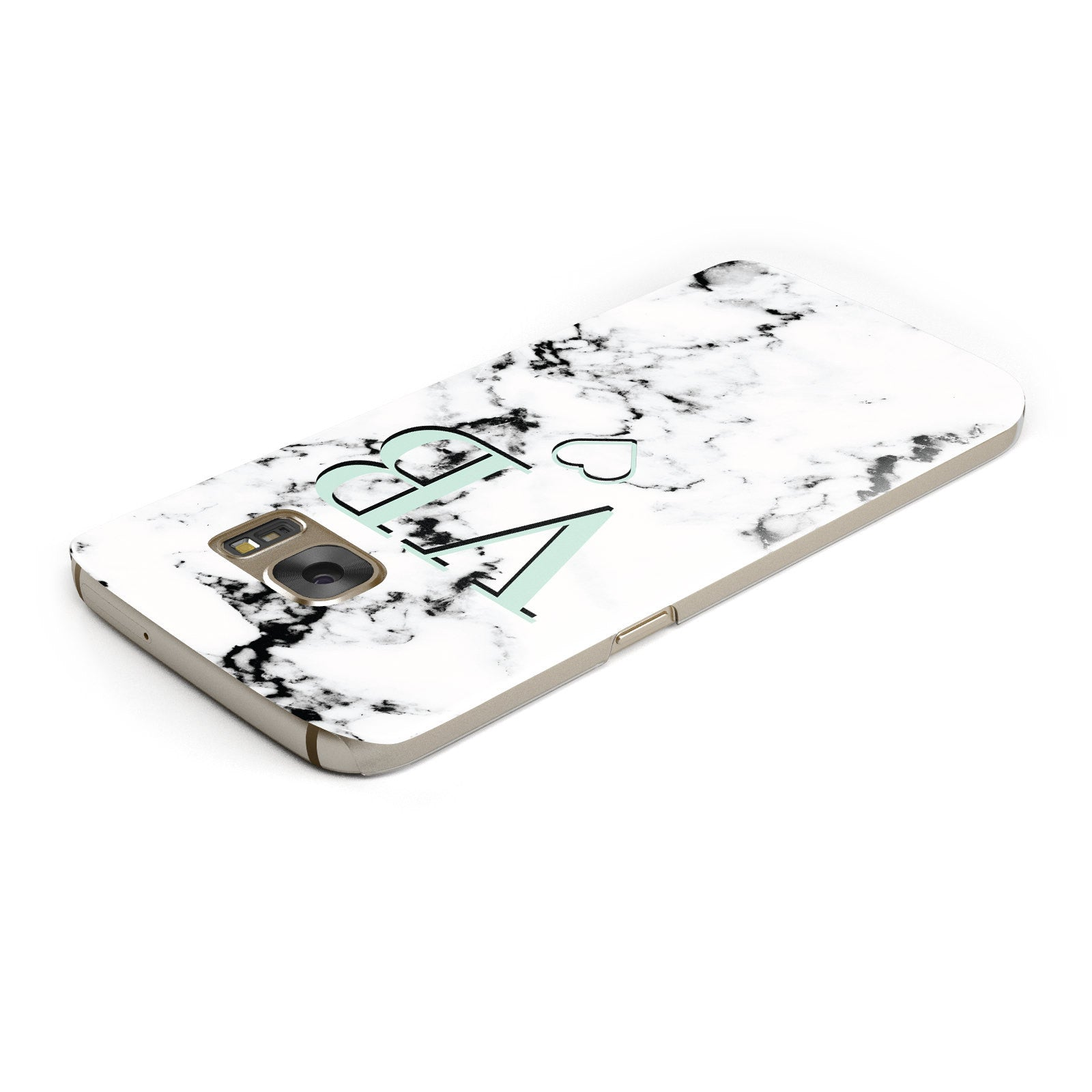 Personalised Mint Monogrammed Heart Marble Samsung Galaxy Case Top Cutout