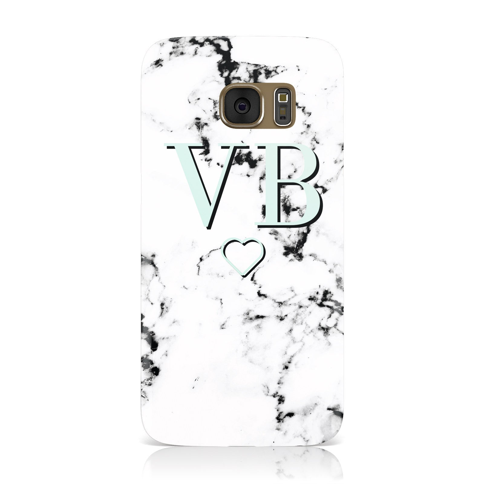 Personalised Mint Monogrammed Heart Marble Samsung Galaxy Case