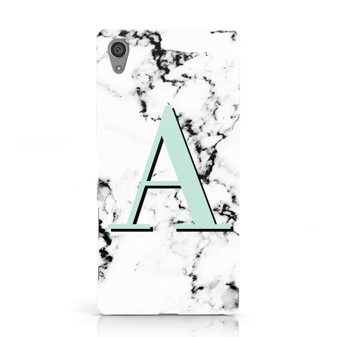 Personalised Mint Single Initial Marble Sony Xperia Case